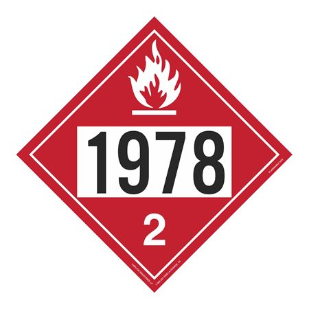 UN#1978 Flammable Gas Stock Numbered Placard