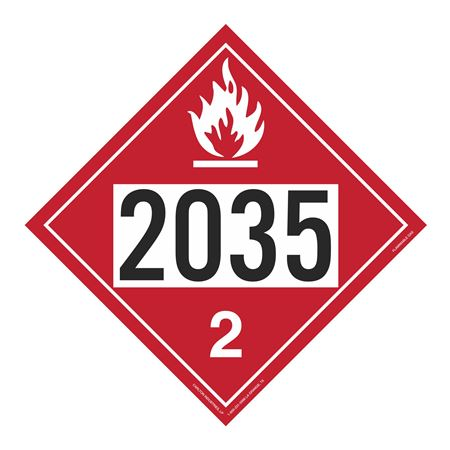 UN#2035 Flammable Gas Stock Numbered Placard