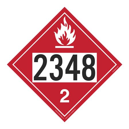 UN#2348 Flammable Gas Stock Numbered Placard