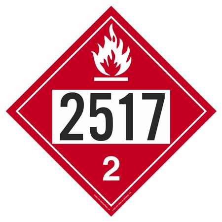UN#2517 Flammable Gas Stock Numbered Placard