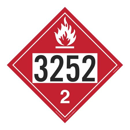 UN#3252 Flammable Gas Stock Numbered Placard