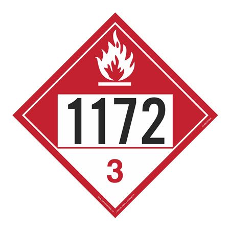 UN#1172 Combustable Stock Numbered Placard