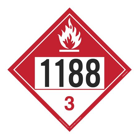 UN#1188 Combustable Stock Numbered Placard