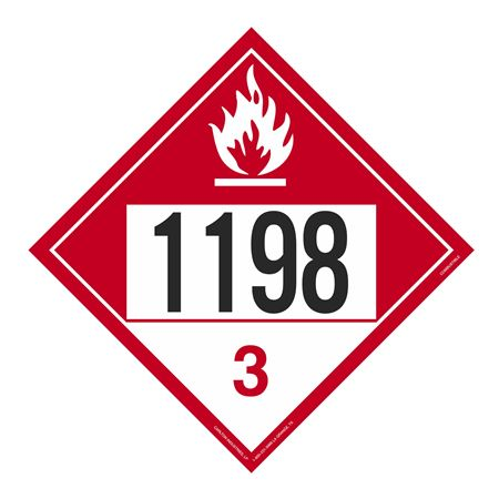 UN#1198 Combustible Stock Numbered Placard