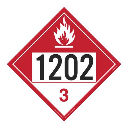 UN#1202 Combustible Stock Numbered Placard