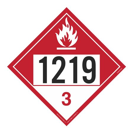 UN#1219 Combustable Stock Numbered Placard