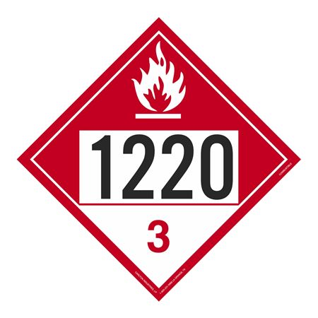 UN#1220 Combustible Stock Numbered Placard
