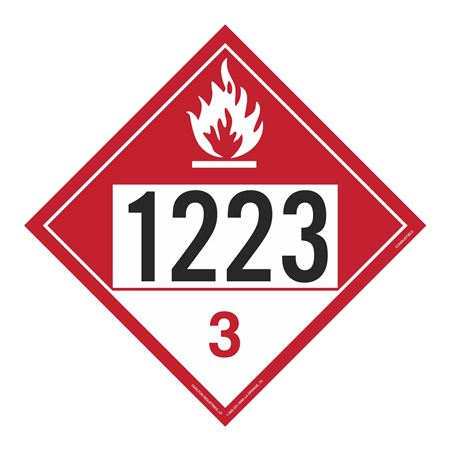 UN#1223 Combustable Stock Numbered Placard