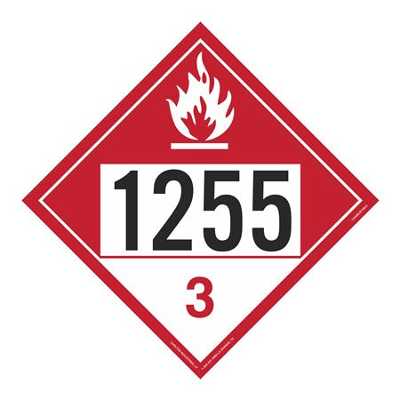 UN#1255 Combustable Stock Numbered Placard