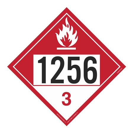 UN#1256 Combustible Stock Numbered Placard