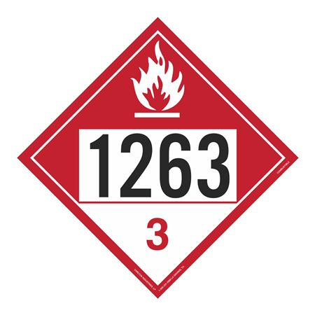 UN#1263 Combustible Liquid Stock Numbered Placard