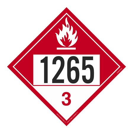 UN#1265 Combustible Stock Numbered Placard