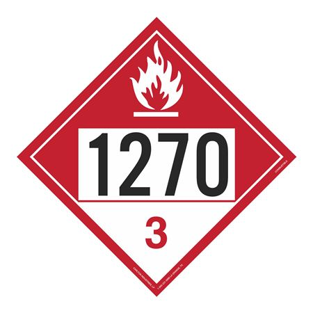 UN#1270 Combustable Stock Numbered Placard