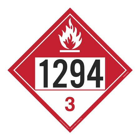 UN#1294 Combustible Stock Numbered Placard