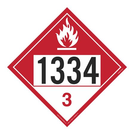 UN#1334 Combustable Stock Numbered Placard