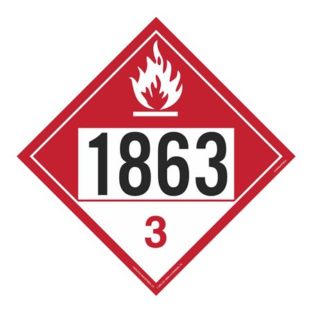 UN#1863 Combustable Stock Numbered Placard