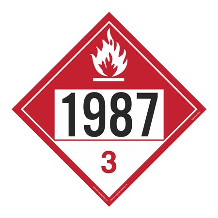 UN#1987 Combustible Stock Numbered Placard