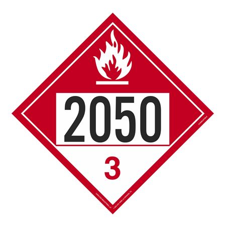 UN#2050 Combustible Stock Numbered Placard