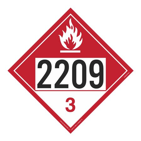 UN#2209 Combustable Stock Numbered Placard
