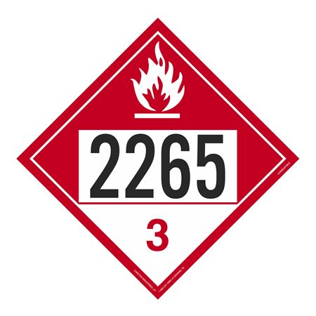 UN#2265 Combustible Stock Numbered Placard