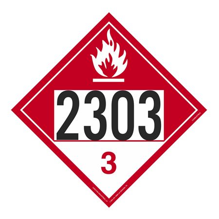 UN#2303 Combustible Stock Numbered Placard