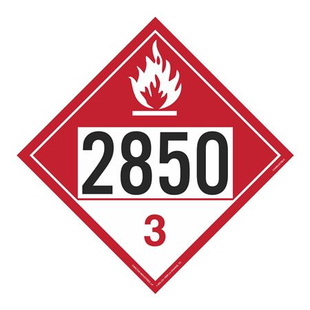 UN#2850 Combustible Stock Numbered Placard