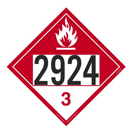 UN#2924 Combustible Stock Numbered Placard