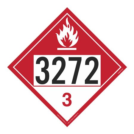 UN#3272 Combustible Stock Numbered Placard