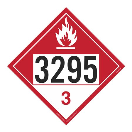 UN#3295 Combustible Stock Numbered Placard