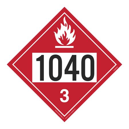 UN#1040 Flammable Stock Numbered Placard