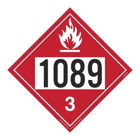 UN#1089 Flammable Stock Numbered Placard