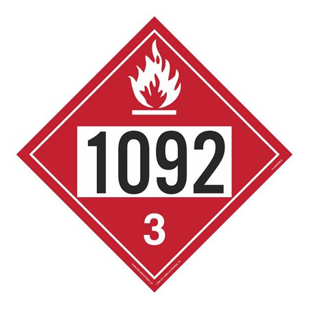 UN#1092 Flammable Stock Numbered Placard
