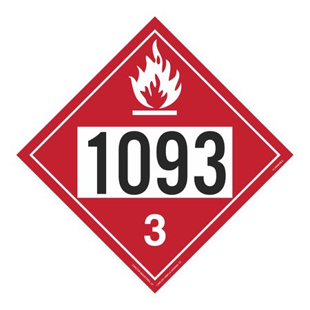 UN#1093 Flammable Stock Numbered Placard
