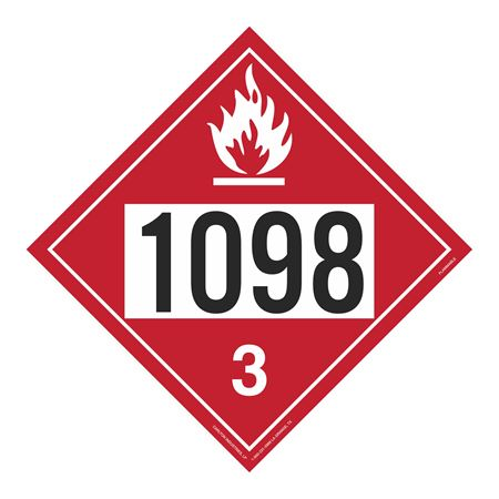 UN#1098 Flammable Stock Numbered Placard