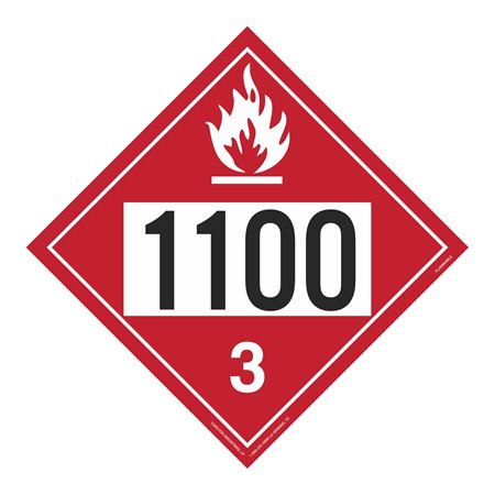 UN#1100 Flammable Stock Numbered Placard