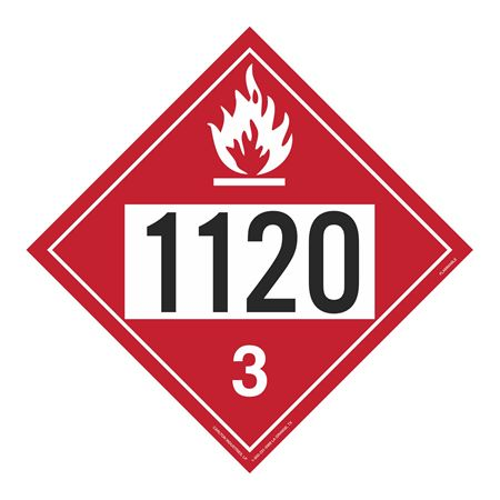UN#1120 Flammable Liquid Stock Numbered Placard