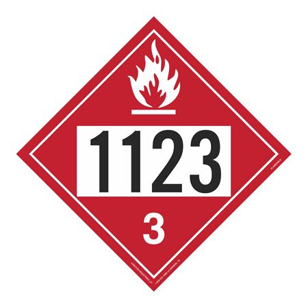 UN#1123 Flammable Stock Numbered Placard