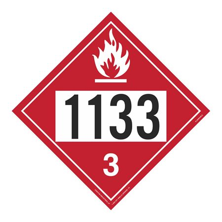 UN#1133 Flammable Stock Numbered Placard