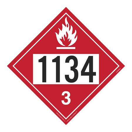 UN#1134 Flammable Stock Numbered Placard