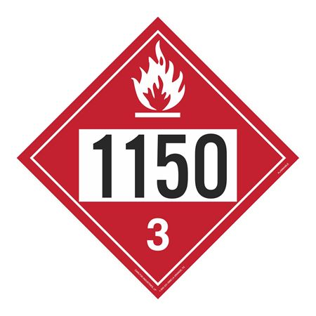 UN#1150 Flammable Stock Numbered Placard