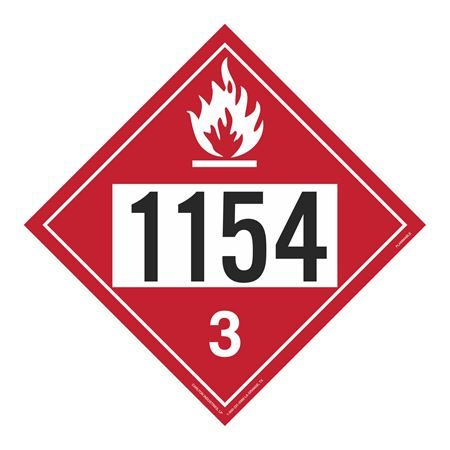 UN#1154 Flammable Stock Numbered Placard