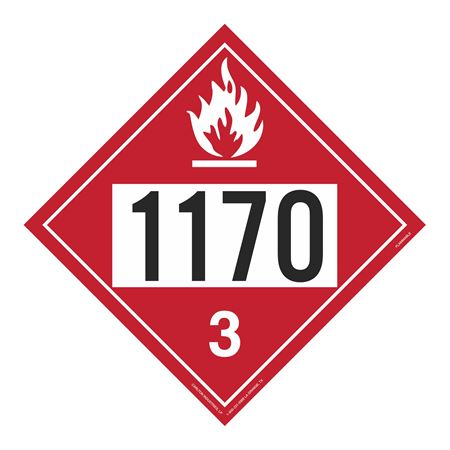 UN#1170 Flammable Liquid Stock Numbered Placard