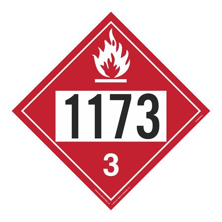 UN#1173 Flammable Stock Numbered Placard