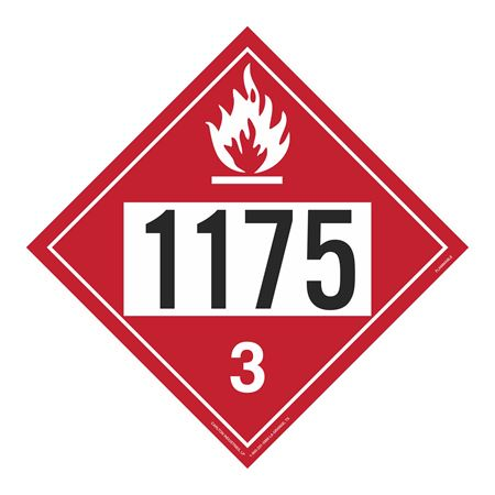 UN#1175 Flammable Stock Numbered Placard