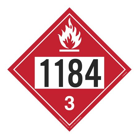 UN#1184 Flammable Stock Numbered Placard