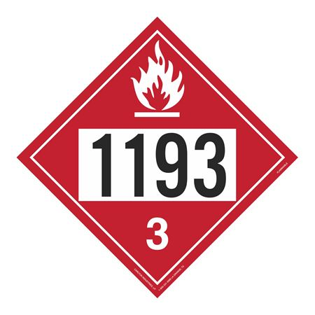 UN#1193 Flammable Liquid Stock Numbered Placard
