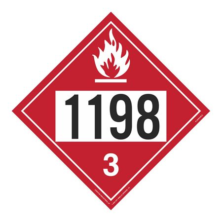 UN#1198 Flammable Stock Numbered Placard
