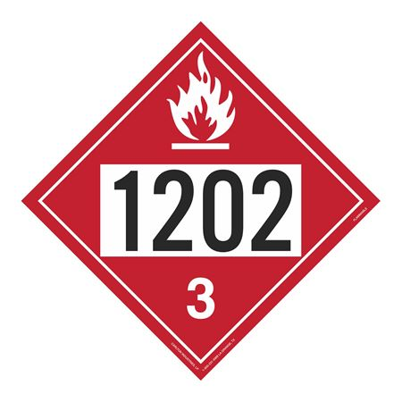 UN#1202 Flammable Stock Numbered Placard