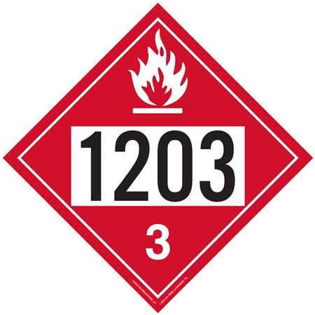 UN#1203 Flammable Liquid Stock Numbered Placard