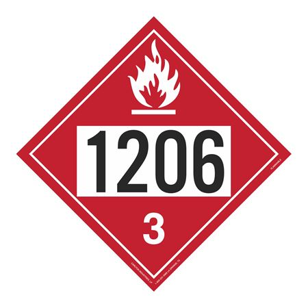 UN#1206 Flammable Liquid Stock Numbered Placard